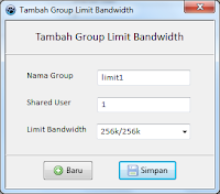 Antarmuka Tambah Group Limit Bandwidth