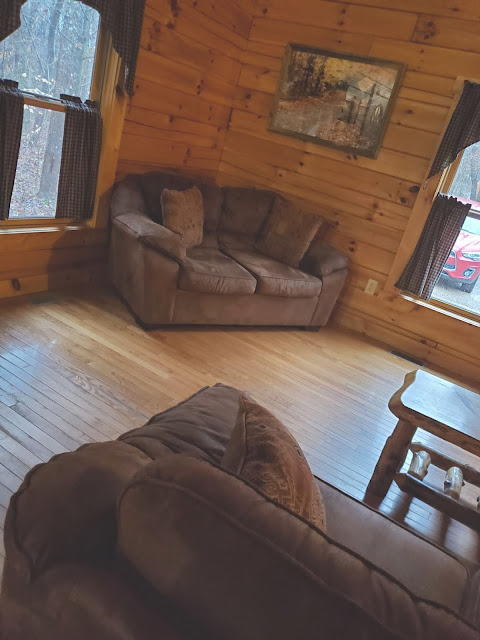 Living Room in Getaway Cabins Whispering Woods #25 cabin in the Hocking Hills