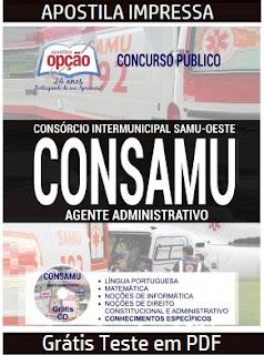 Apostila Samu Oeste-PR CONSAMU Agente Administrativo - Impressa  Grátis Testes em PDF