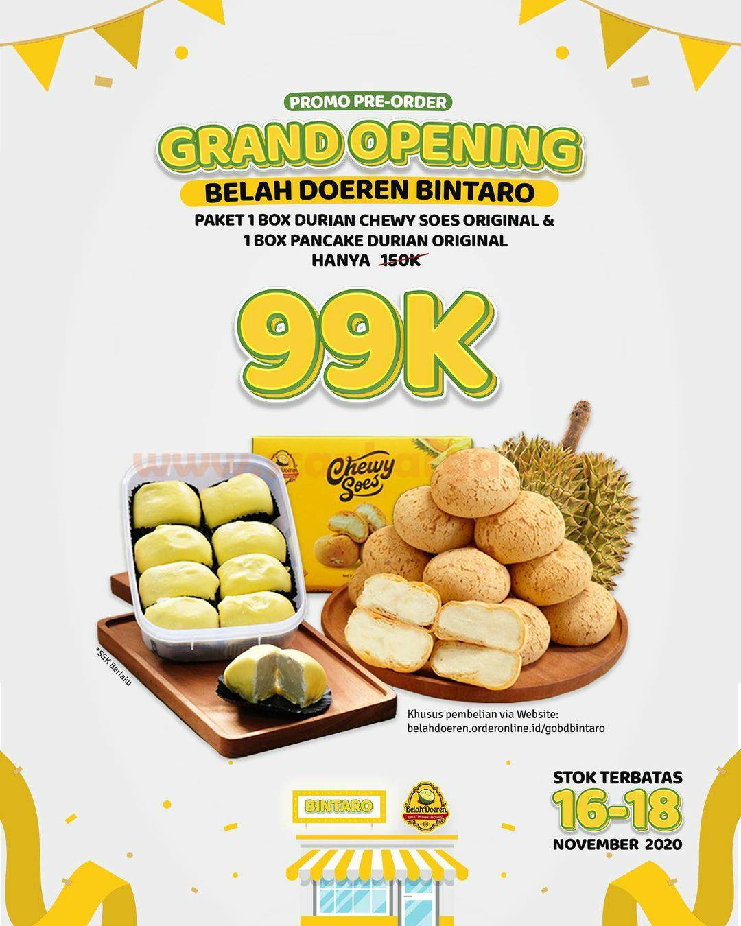 Belah Doeren Bintaro Promo PO Paket Chewy Soes & Pancake Durian Original cuma 99K