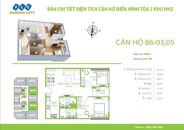 Thiết kế căn hộ 66m2 tòa HH2 FLC Đại Mỗ