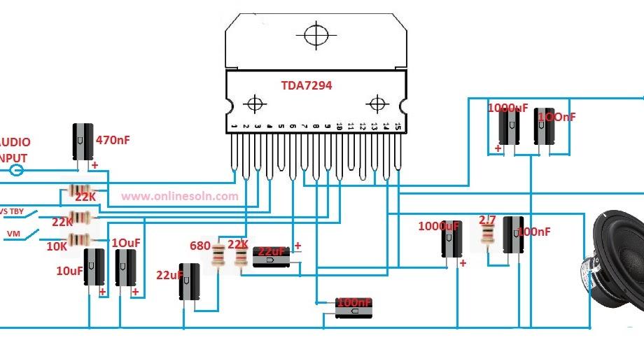 150 Watt Subwoofer Audio Amplifier Circuit diagram   TDA7294