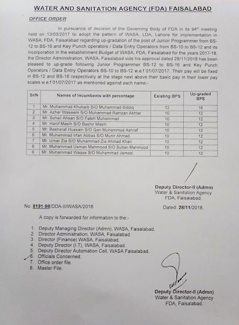 Notification of Up gradation of Data Entry Operators, Key Punch Operators and Junior Programmer WASA Faisalabad