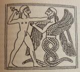 Zeus (mit seinem Donnerkeil) und Typhon