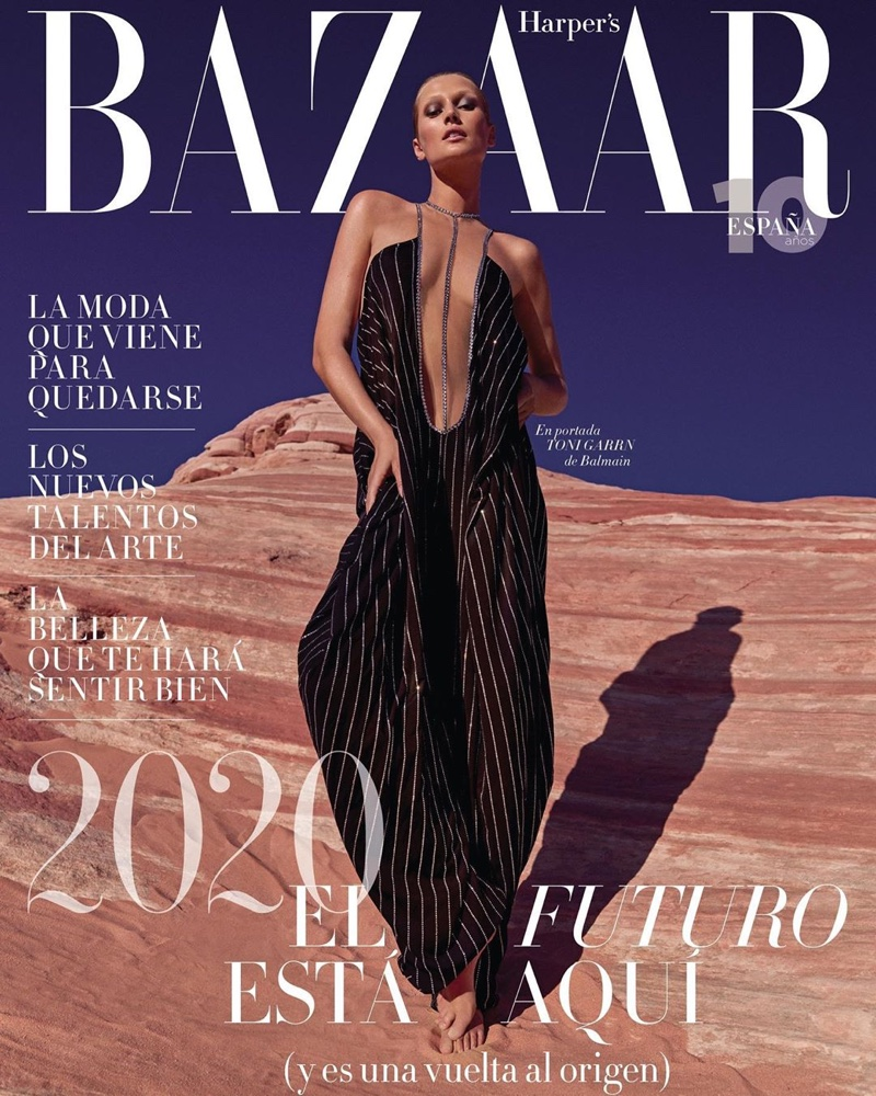 Toni Garrn drips in glamour for Harper's Bazaar Spain January 2020