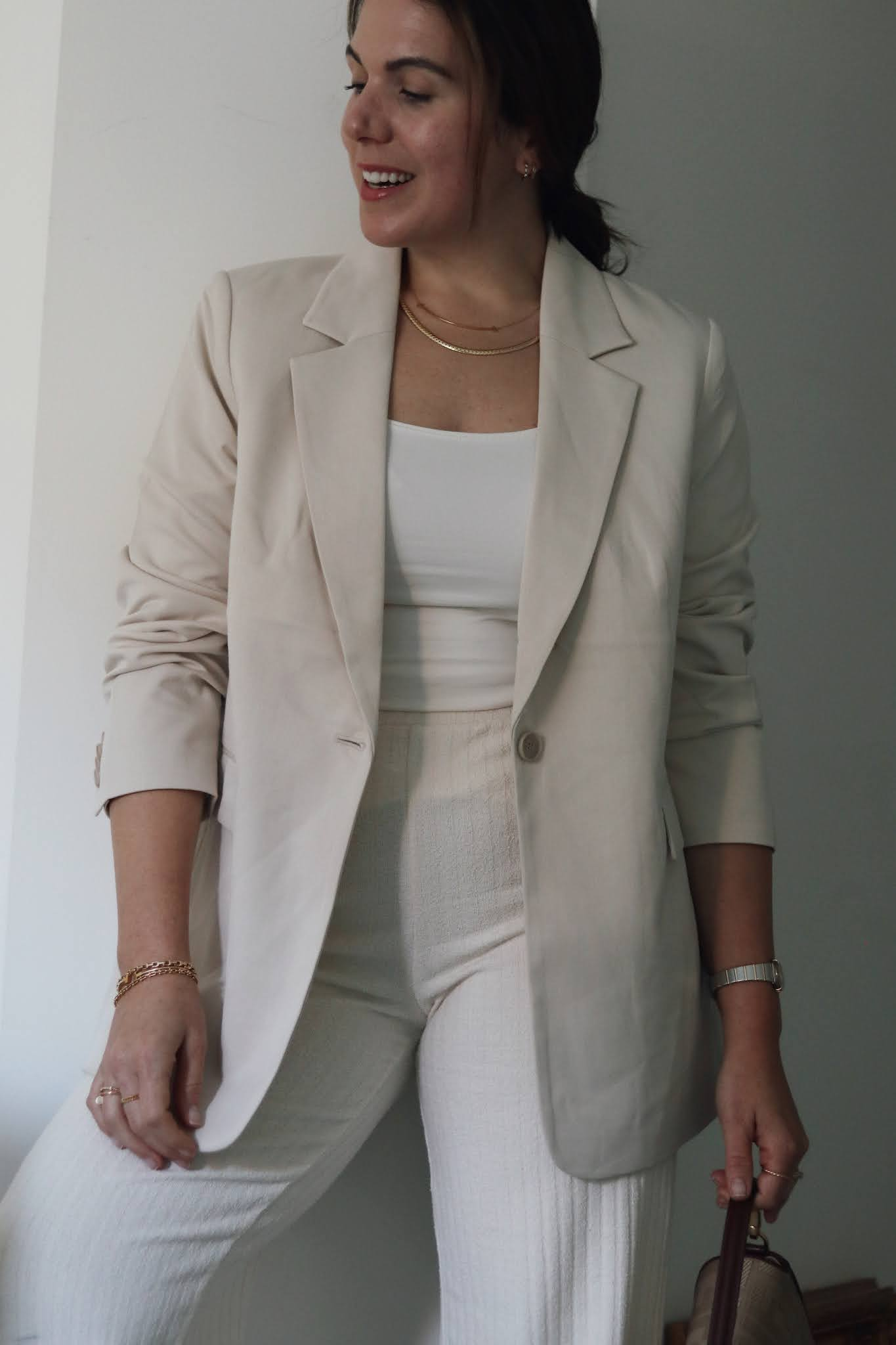 HM oversized blazer all beige outfit fendi baguette