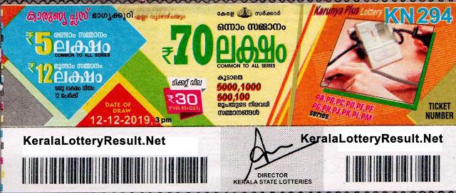 Kerala Lottery Result 12-12-2019 Karunya Plus KN-294