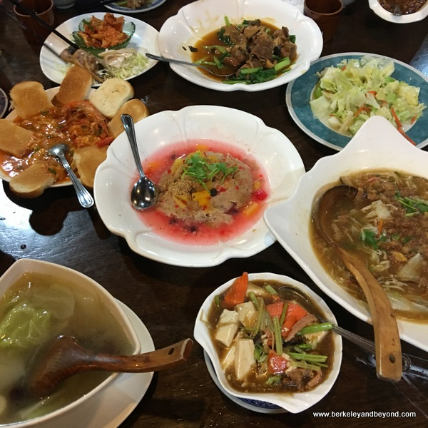 array of dishes at Chun restaurant in Yilan, Taiwan