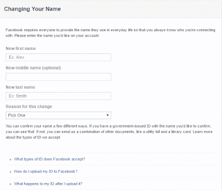 Form to Request Facebook Name Change