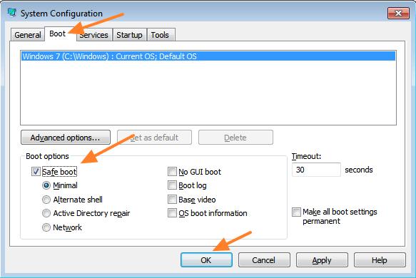 cara keluar dari safe mode windows 7