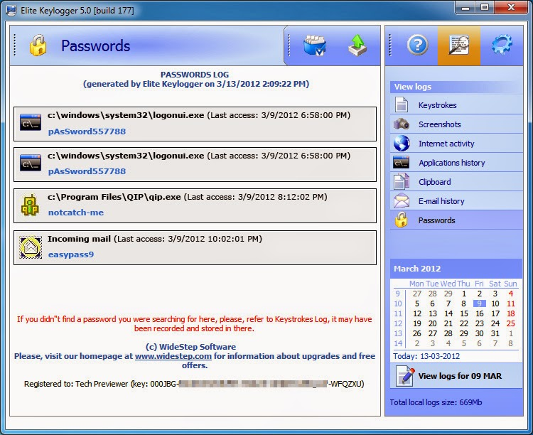 Keylogger file names