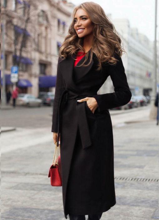 Palton dama negru lung drept cu cordon din stofa Freddo