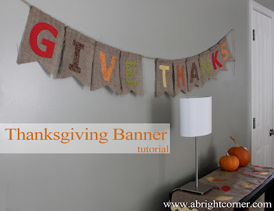 Cute & easy burlap Thanksgiving banner tutorial
