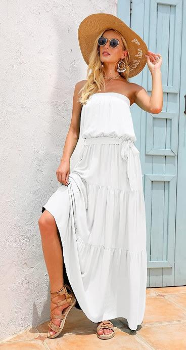 Beautiful White Strapless Maxi Dresses