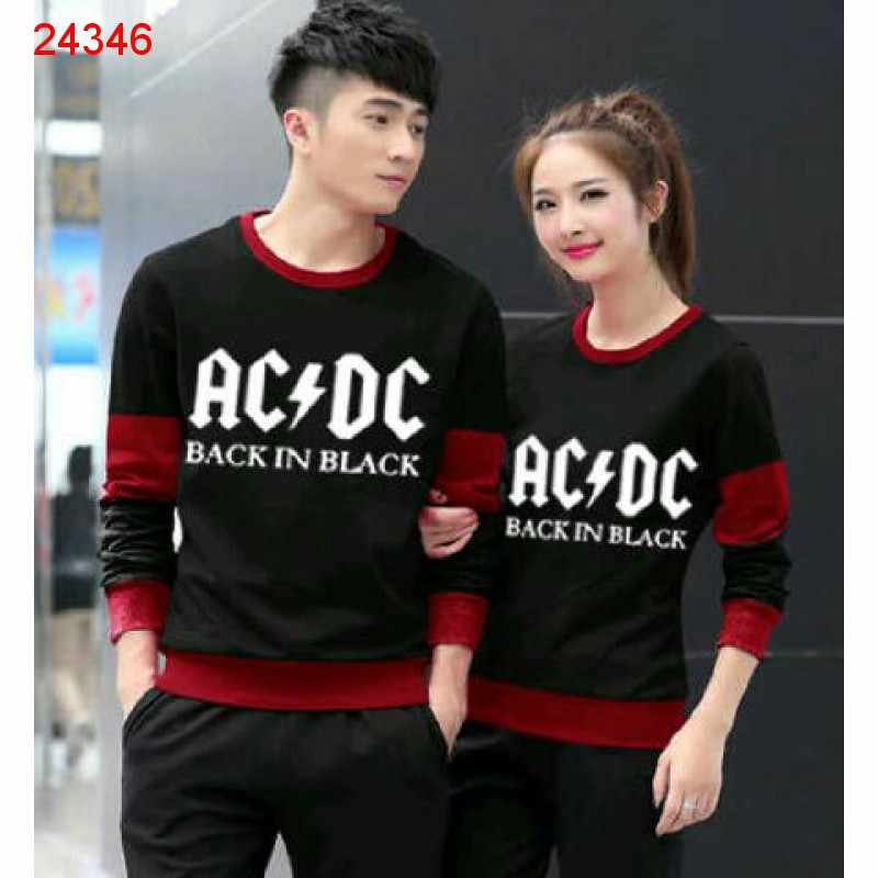 Jual Couple Lengan Panjang LP ACDC Black - 24346