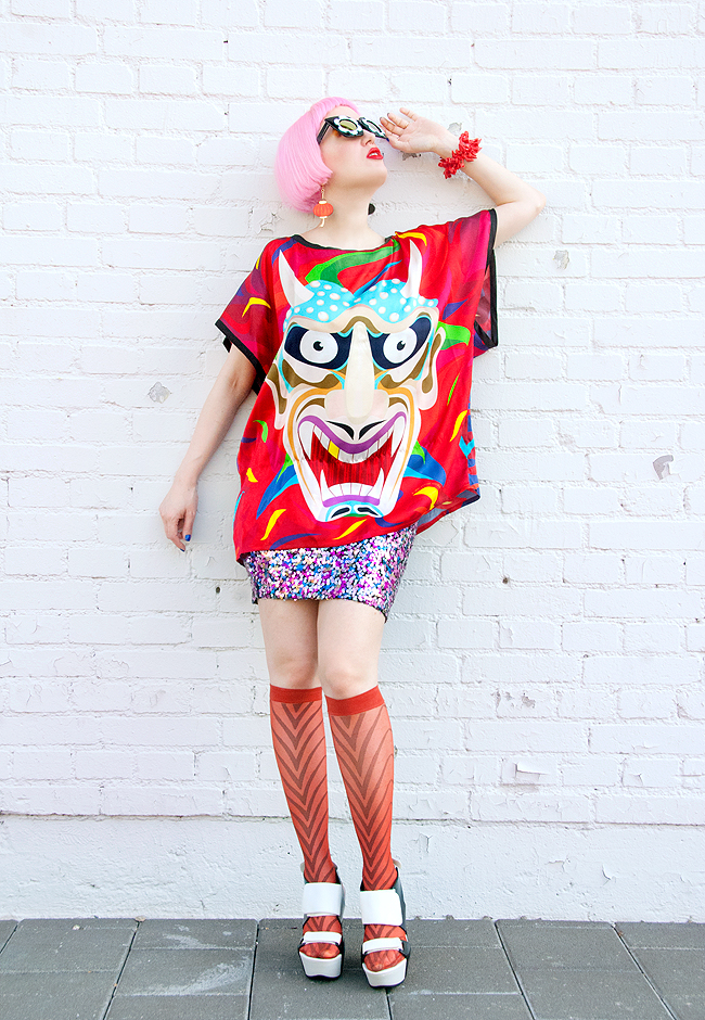 silk print top, devil print, colourful fashion