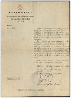 1942 Ordre prohibint imprimir targes de visita o folletos en català