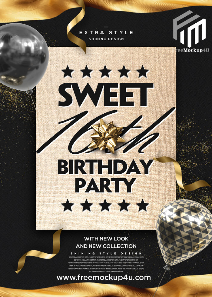 Golden High and Luxury Style 16th Birthday Card