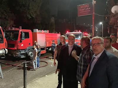 محافظ القاهرة يصل إلى موقع حريق كنيسة الأنبا بولا بحدائق القبة (فيديو وصور)