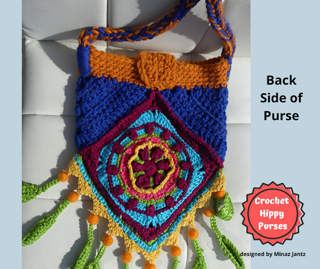 Back VIEW Blue/Orange Crochet Hippy Purse designed by Minaz Jantz