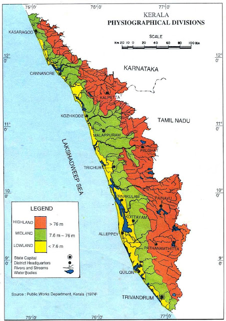 Physiographic Divisions of Kerala Map