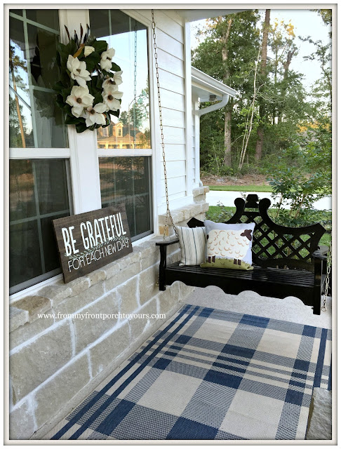 Suburban Farmhouse Front Porch-Grandin Road-Swing-Plaid Rug-From My Front Porch To Yours