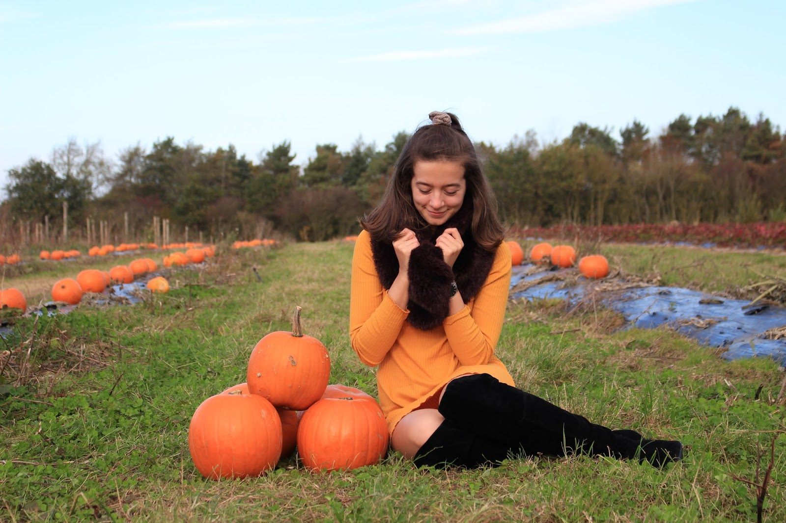 Blogger Abbey sits next to a stack of pumpkins, wearing an orange dress and faux fur scarf