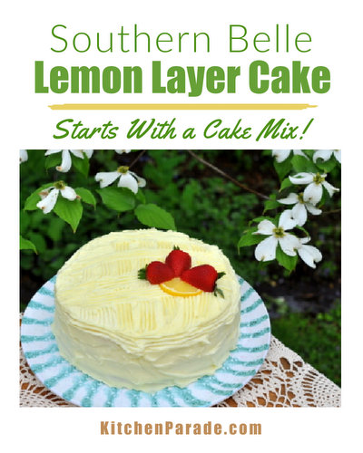 Southern Belle Lemon Layer Cake ♥ KitchenParade.com, easy cake mix cake, very lemony with a delicious lemony cream cheese frosting. Also strawberry cake, cherry cake, orange cake and 9x13 variations!