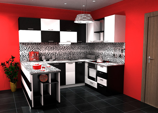 Modern White and red kitchen renovation ideas
