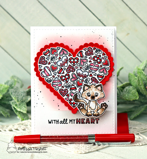 Kitten Valentine card by Larissa Heskett | Smitten Kittens Stamp set and Heartfelt Love Stamp Set by Newton's Nook Design