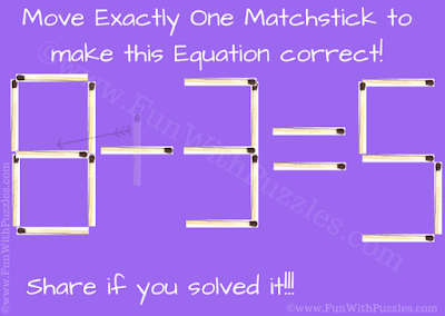 It is the answer of matchstick puzzle to make the given equation correct by moving just one matchstick