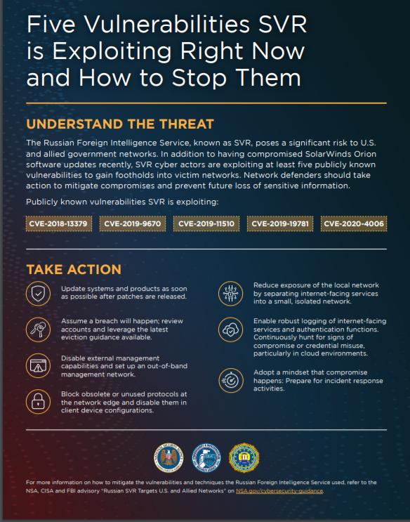 NSA Releases List of Top 5 vulnerabilities