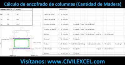Excel para Cálculo de encofrado de columnas Cantidad de Madera