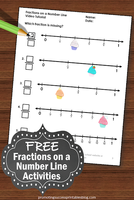 free printable fractions on a number line worksheets
