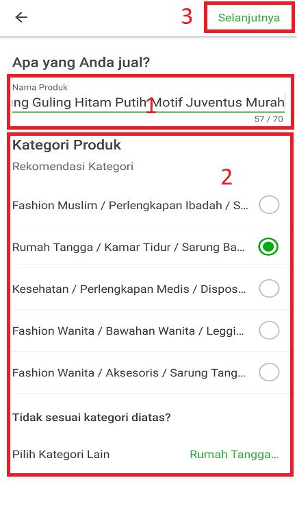 Mengisi Nama Produk dan Kategori Produk Jualan di Tokopedia Melalui Smartphone.