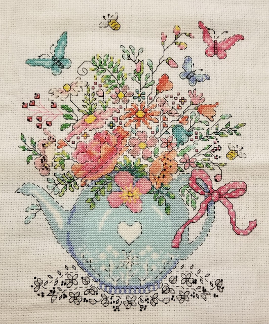 Completed Blooming Teapot Cross Stitch