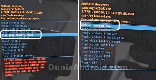Proses Wipe data factory reset samsung a20