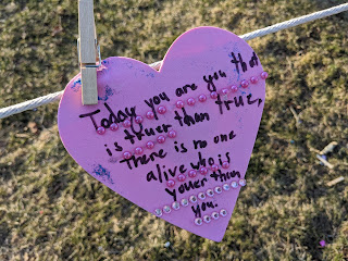 "one of the many ""Hearts of Kindness"" hung around the Town Common by school kids for Valentine's Day"
