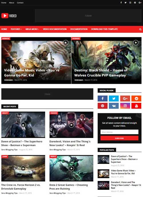 Responsive Free Video Blogger Template