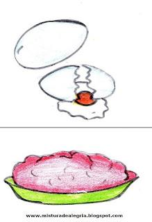 Desenho de ovo e carne