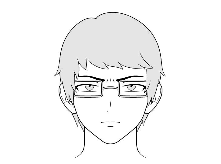Pria intelektual anime yang bersangkutan menggambar wajah