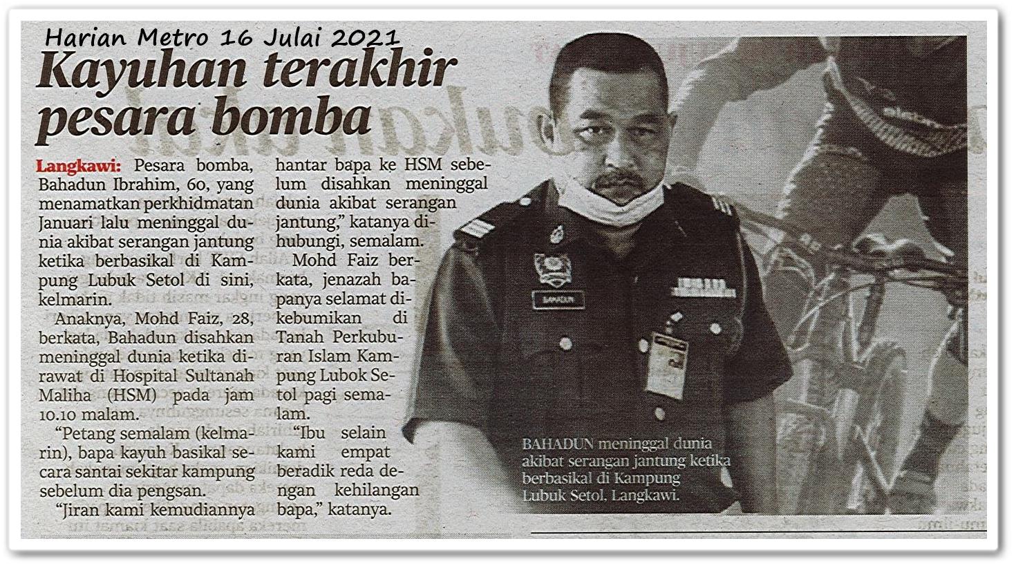 Kayuhan terakhir pesara bomba - Keratan akhbar Harian Metro 16 Julai 2021
