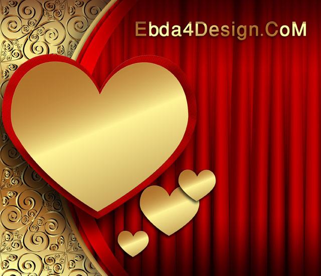 PSD Wedding and Love Backgrounds, تحميل خلفيه قلوب ذهبيه مفتوحة المصدر للفوتوشوب ,Golden Hearts PSD Background download