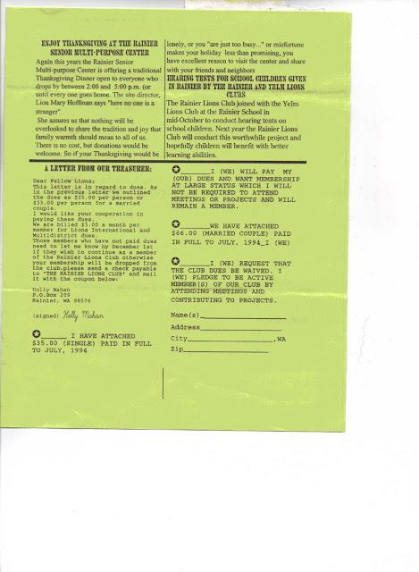 Rainier Lions Club Charter Night Flyer Amp Newspaper