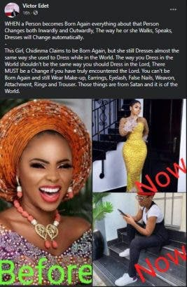 Why do you wear earrings and eyelashes and you claim you are born again- Evangelist slams Chidinma for saying she is a born again