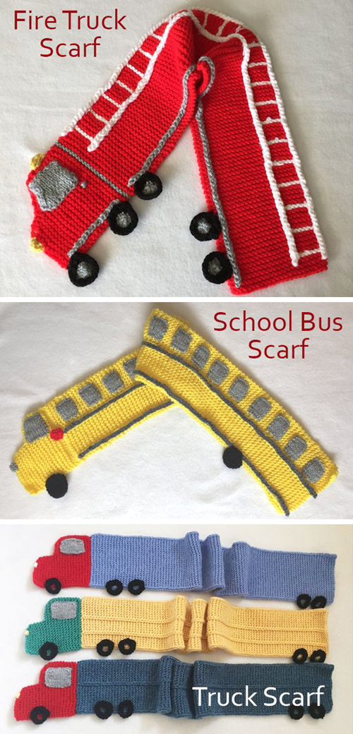 Fire Truck Scarf, School Bus Scarf, and Trailer Truck Scarf