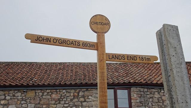 Cheddar LEJOG signpost taken on my Land's End to John O'Groats hike 2018