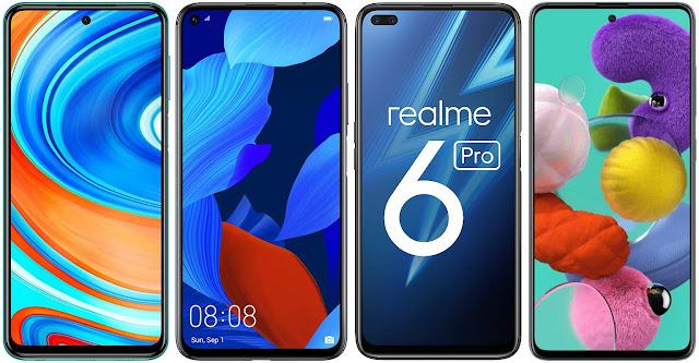 Xiaomi Redmi Note 9 Pro vs Huawei Nova 5T vs Realme 6 Pro vs Samsung Galaxy A51