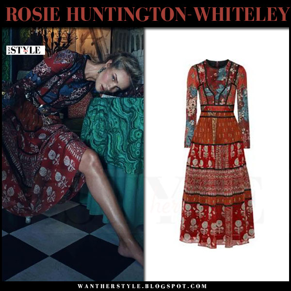 Rosie Huntington-Whiteley in red paneled printed burberry dress Vogue Korea what she wore