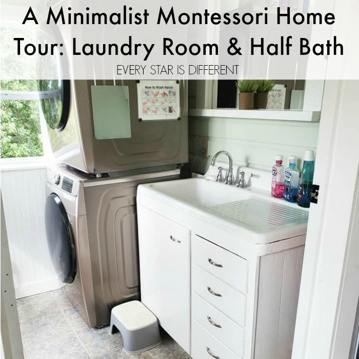 A Minimalist Montessori Home Tour: The Laundry Room and Half Bath